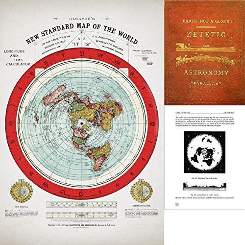 Mapa plano de la Tierra – Póster de Gleason's 1894 nuevo mapa estándar del mundo – 61 x 91 cm – Incluye libro electrónico gratuito – Astronomía Zetetic de Samuel Rowbotham