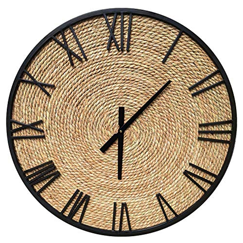 """gb Home Collection Natural Seagrass Large Wall Clock, Rustic Farmhouse Clock, Brown Sea Grass Wood Design, 27.5"""" (70 cm) Diameter"""