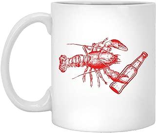 Lobster Drinking Beer Coffee mug Funny Lobster Gift Beer Lovers Best Mug White Mug 190618