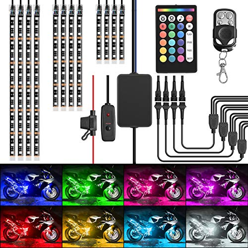 Nilight TL-35 12PCS Motorcycle RGB Led Kit Waterproof Multi-Color Atmosphere Lights Lamp with Dual RF Wireless Remote Controllers for Harley Davidson Honda Kawasaki Suzuki, 2 Years Warranty