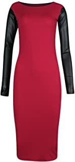 a963924ada New Womens Plus Size Pu Wet Look Long Sleeve Bodycon Midi Dress