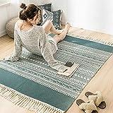 BAIVIT Vintage-Teppich aus Baumwolle - 120 X 170 cm, Maschinenwaschbarer Teppich im Böhmischen Stil mit Quastendekoration, für Wohnzimmer, Schlafzimmer, Küche, Fußmatten,Grün