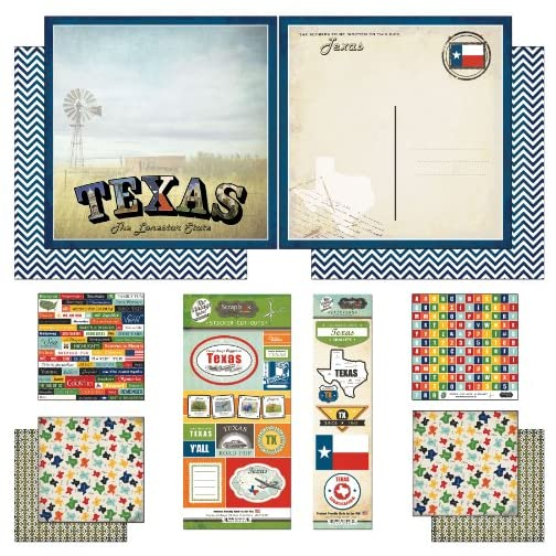 Scrapbook Customs Themed Paper and Stickers Scrapbook Kit, Texas Vintage, 12 inch by 12 inch |