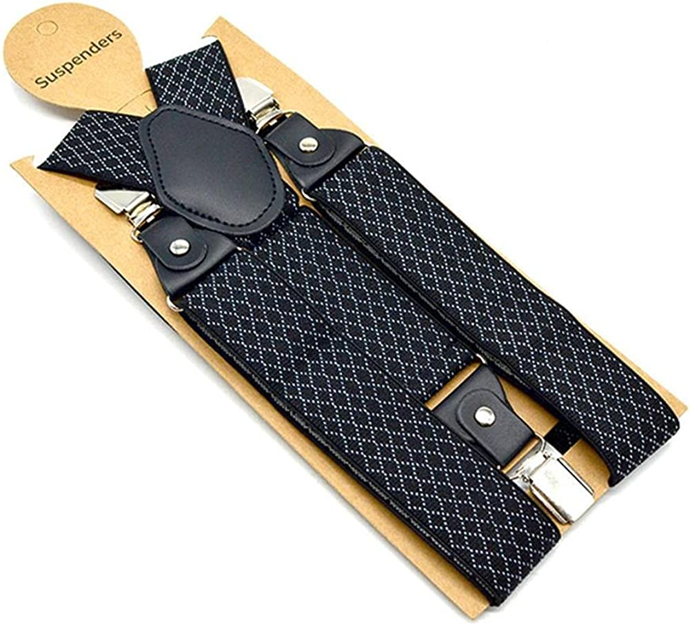 Plaid Suspenders Men Business Y Back Braces Straps 3.5Cm Wide Clips 3 Mens Trouser Belt Black Suspender
