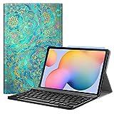 Fintie Tastatur Hülle für Samsung Galaxy Tab S6 Lite 10,4 SM-P610/ P615 2020 mit Stifthalter - Superdünn Keyboard Hülle mit magnetisch Abnehmbarer drahtloser Deutscher Tastatur, Jade