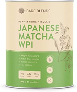 Bare Blends - Natural Whey Protein Isolate & Japanese Matcha | WPI | Whey Protein Powder | Gluten Free | non-GMO | 500g