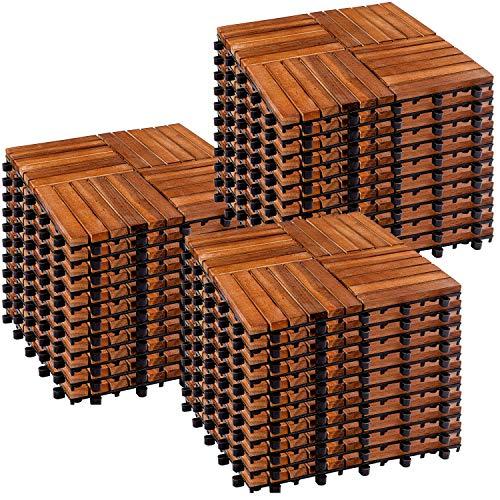 Stilista Dalles en Bois d'Acacia 1m², 11 Dalles ou 3m², 33 Dalles, carrelage de Balcon, Dalles de terrasse, carrelage de Jardin, modèle mosaïque 4x4