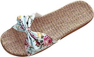 Sandalias con Punta Abierta para Mujer Arco Flor Lino Zapatos de Playa Pisos Casuales Sandalias Romanas Verano Tobillo Zap...