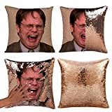 Merrycolor The Office Merch Throw Pillow Cover Magic Reversible Dwight Schrute Sequin Cushion Cover Decorative Pillowcase That Change Color (L The Office-Gold Sequins)