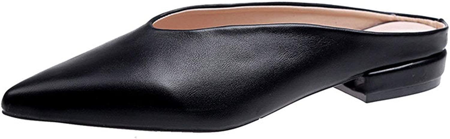 Women Slippers PU Leather Pointed Toe Flat shoes Woman Slides Mules Cover Toe Ladies Slip,