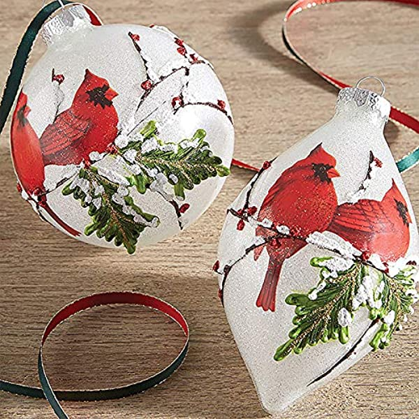 RAZ Imports SET OF 2 Raz 4 White Iced Cardinal Glass Christmas Ornaments 3824678
