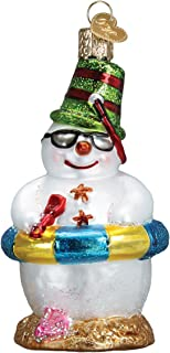 Old World Christmas Glass Blown Ornament Snowman On Beach
