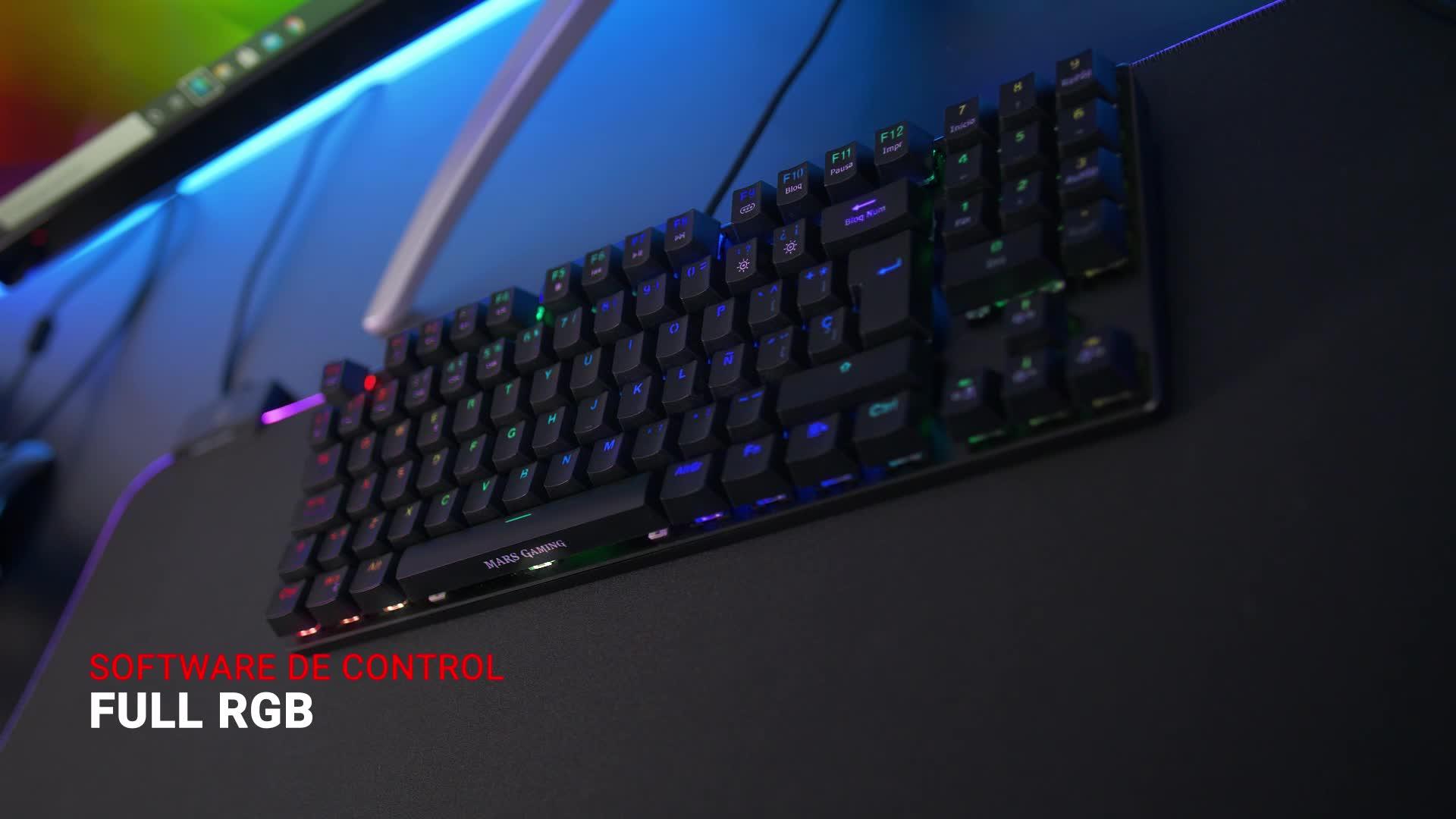 Mars Gaming MKREVOPRO, Teclado Gaming RGB Mecánico, TKL+ NUM, Switch Azul, Portu