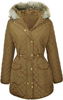 CHOCOLATE PICKLE Ladies Plus Size Diamond Quilted Jacket Fur Hooded Winter Parka Coats 18-24