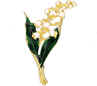 Spilla foglia floreale bianca Giglio di smalto in lega alla moda