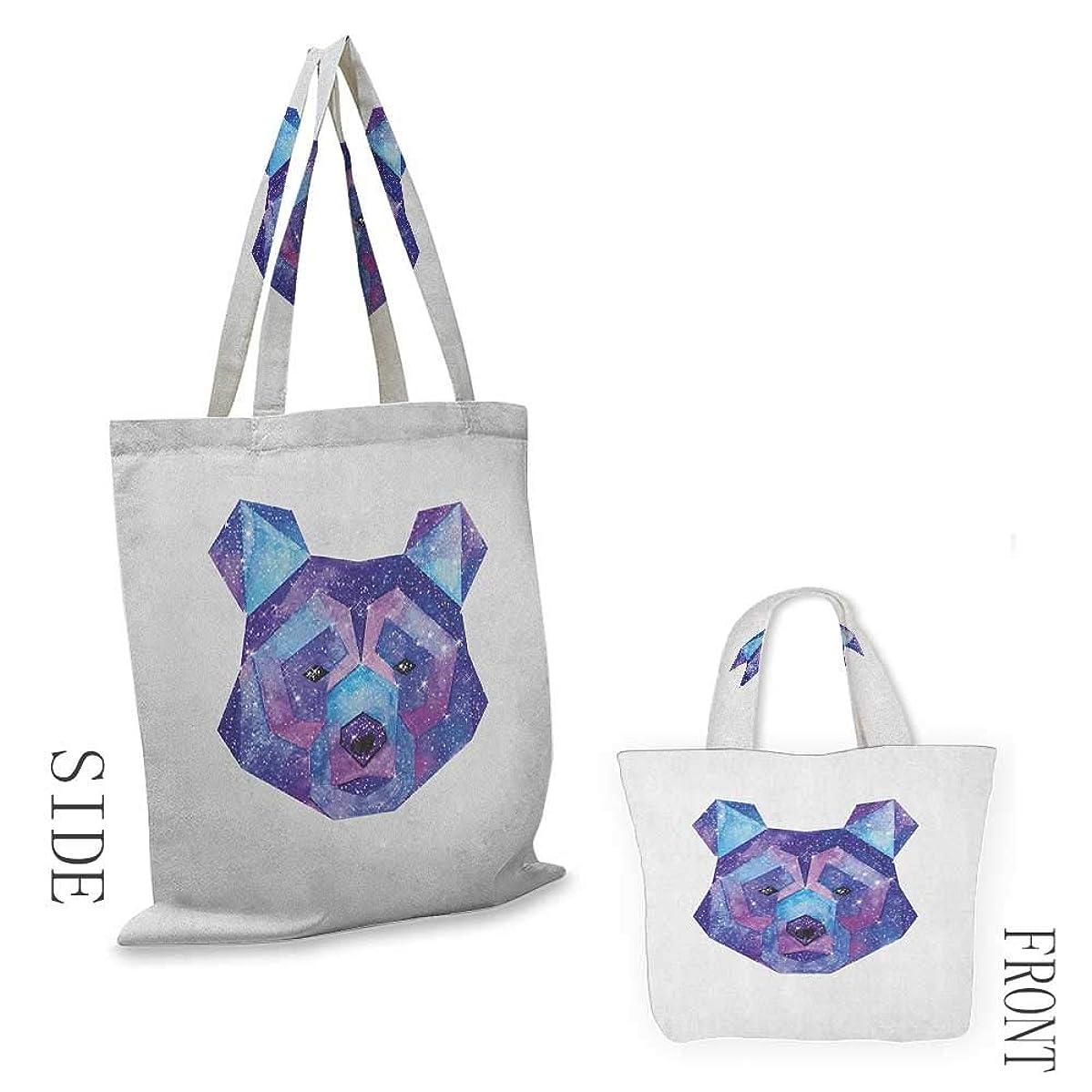 "shopping bag for women BearCosmic Polygonal Wildlife Figure Hand Drawn Watercolor Artwork with Galaxy Pattern Blue Magenta18""W x 16""H"