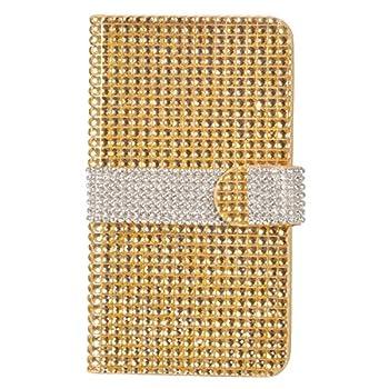 Eagle Cell Flip Wallet Case for Alcatel Onetouch Fierce XL 5054 - Retail Packaging - Gold/Silver Stripe