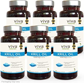 Viva Naturals Premium Antarctic Krill Oil – Omega 3 Supplement with EPA, DHA and Astaxanthin, 1250 mg/Serving, 360 Capsules