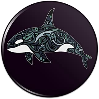 Killer Whale Orca with Waves Pinback Button Pin Badge
