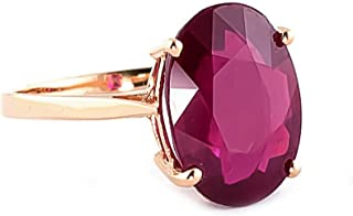 14k Solid Rose Gold Ring with 8.0 Carat Oval-Shaped Vibrant Ruby - Grade AA