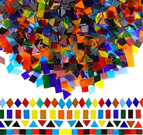 Lanyani 1600 Pieces Transparent Cathedral Glass Mosaic Tiles Pieces for Arts and Crafts Mixed Color Stained Glass Pieces, 4 Shapes Mixed
