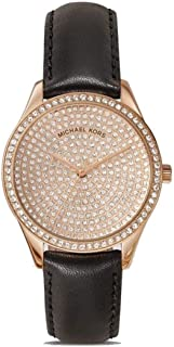 Michael Kors Lady Nini Black Leather Three Hand Watch