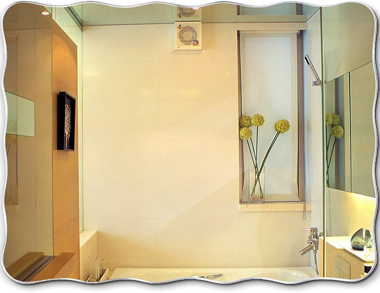 GUOWEI Mirror Bathroom Wall Mount Makeup Dressing Engraved Rectangle Frameless Simple