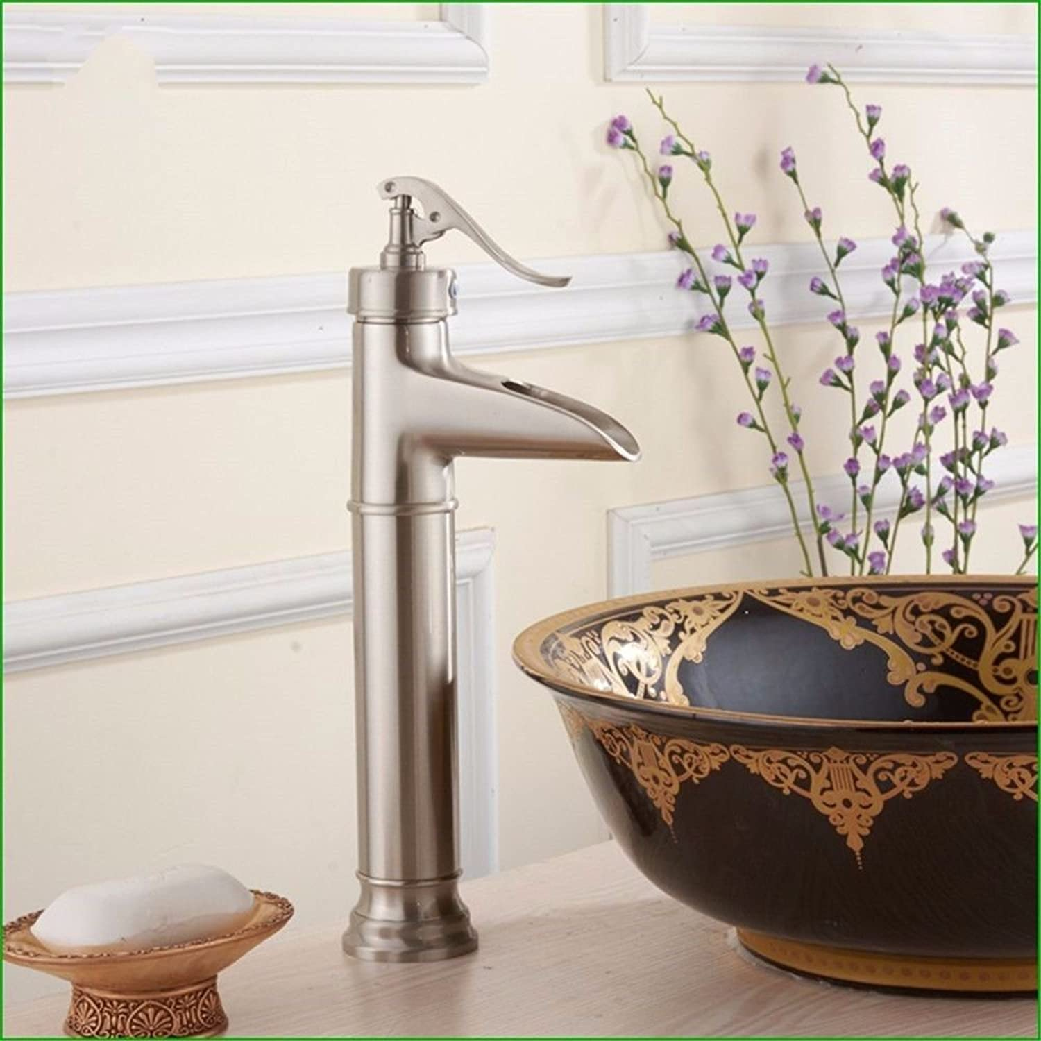 NewBorn Faucet Water Taps Hot And Cold Water Retro-Copper Brushed Waterfall Water Tap Sink Water Tap Single Hole Basin Basin Cold Water Tap.