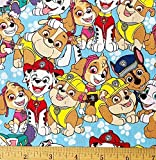 1/2 Yard - Paw Patrol Buddies on Blue Cotton Fabric - Skye Rubble Marshall & More (Great for Quilting, Sewing, Craft Projects, Quilt, Throw Pillows & More) 1/2 Yard X 44'