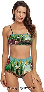 SCOCICI Bikini Swimsuit Swimwear Gentle Spring Season Inspired Pattern Monochro