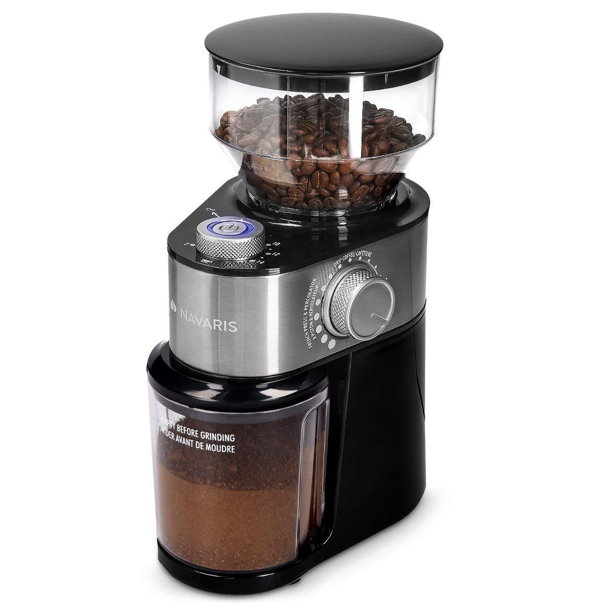 Navaris Molinillo de café eléctrico - Molino Regulable de Granos ...
