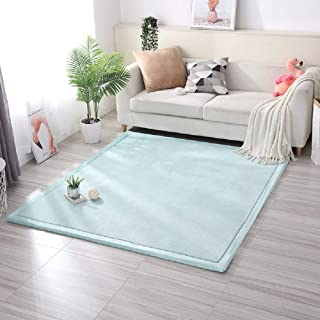 Lyfreen Memory Foam Baby Floor Rug Modern Area Rug Nursery Floor Rug for Boys Girls Ultra Soft Childrens Carpet Infant Toddler Play Mat, Sky Blue 4.92'x 6.56' Livingroom Rug Yoga Mat