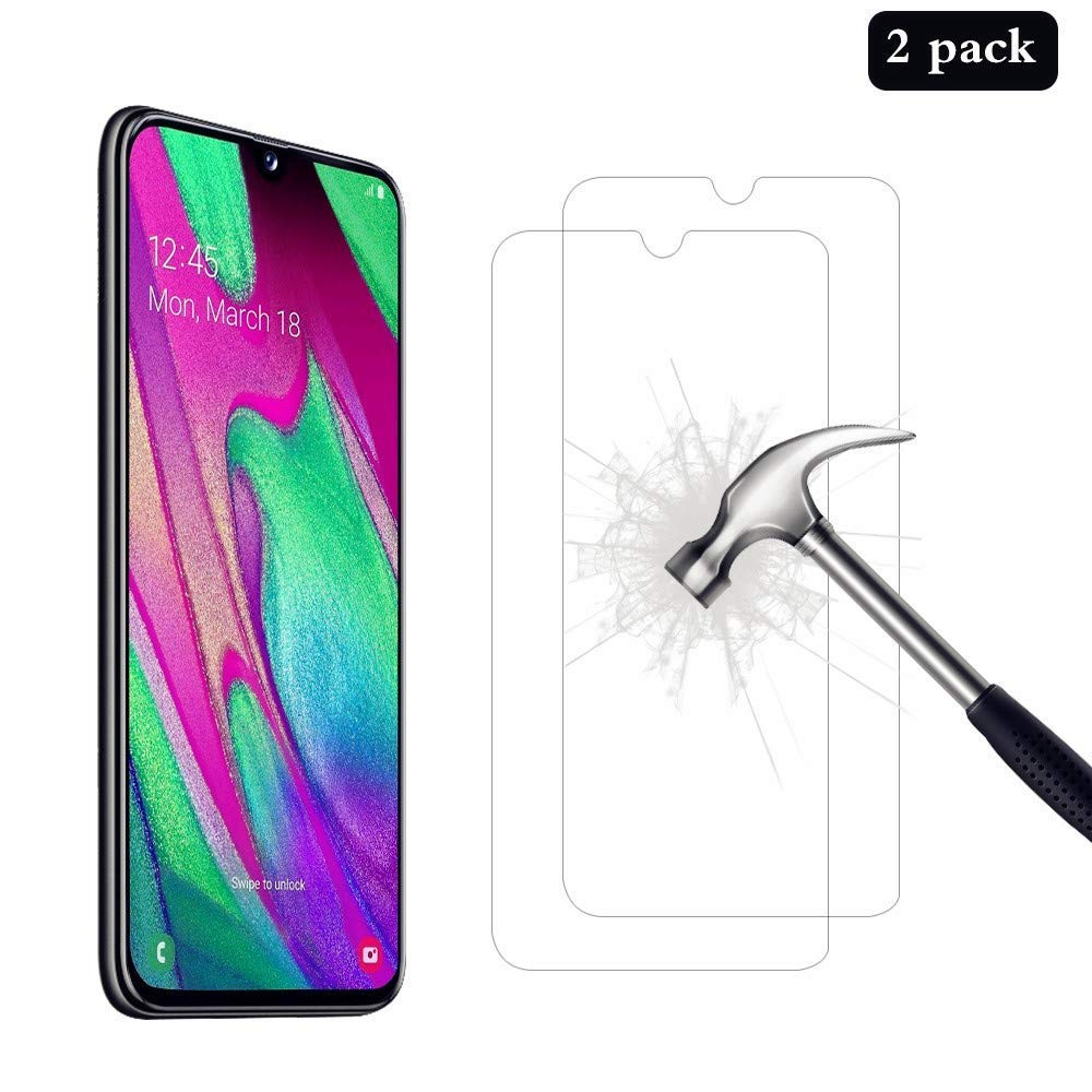 Mobile Stuff [2 PACK] Compatible For Samsung Galaxy A40 Tempered Glass Screen Protector, 2.5D Bubble-Free 9H Hardness HD Clear Tempered Glass Screen Protector for Samsung Galaxy A40