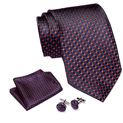 Elemental Goods [72 VARIATIONEN] Alanzio Premium Herren Krawattenset - 3-Teiliges Set - Luxus-Krawatte - Lange Größe 145cm x 8cm - Necktie - Gewebt - Taschentuch - Manschettenknöpfe