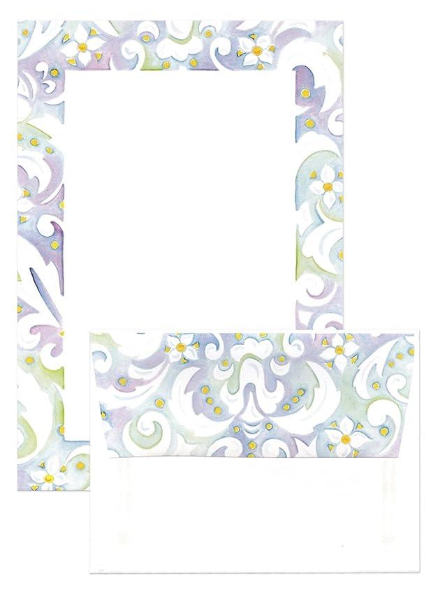 天皇ペダル論理The Paper Company レターセット 便箋6枚×封筒3枚 (水彩×花のフレーム)ST110