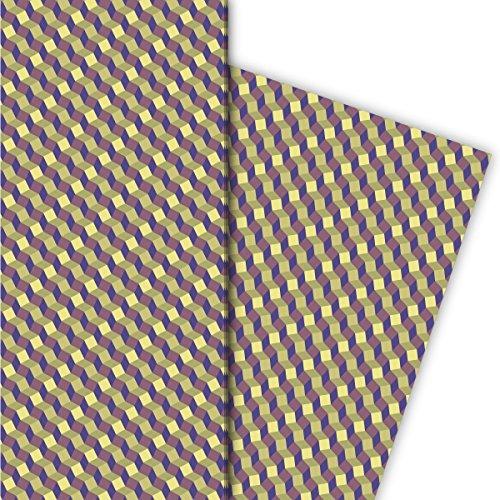 Kartenkaufrausch cadeaupapierset met klein patroon in escher trappen look, paars, als edele geschenkverpakking, designpapier, scrapbooking, 4 vellen, 32 x 48 cm