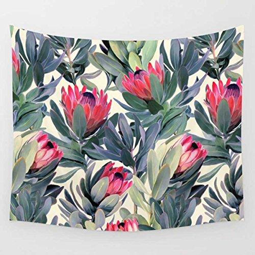 Koongso Tapiz para colgar en la pared, diseño de hojas y flores, de acuarela, para decoración de dormitorio, 51 pulgadas de ancho x 60 pulgadas de largo