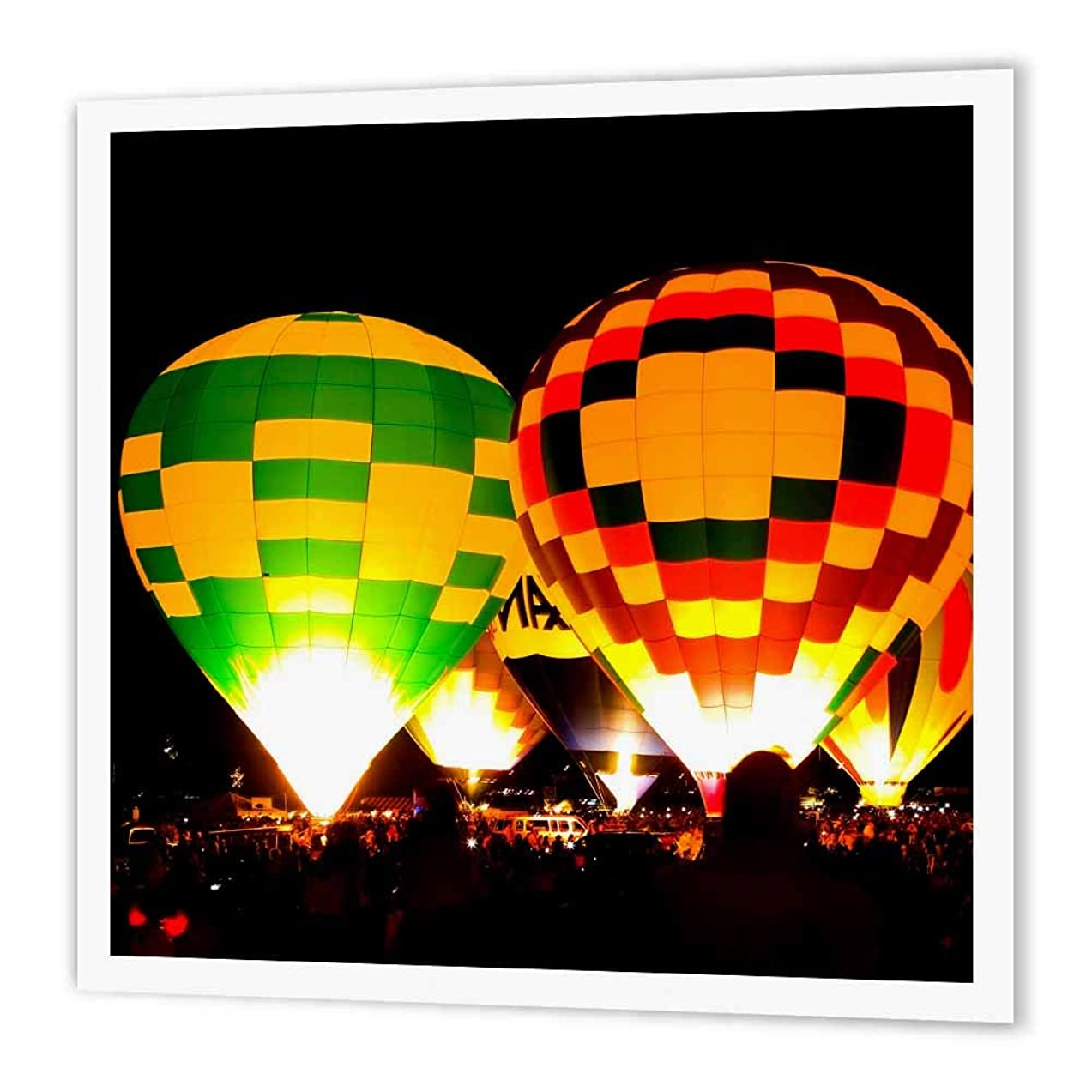 3dRose ht_119894_3 Hot Air Balloons Glowing at Night Iron on Heat Transfer Paper for White Material, 10 by 10