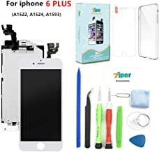 Screen Replacement for iPhone 6 Plus (5.5') - LCD Display Touch Digitizer Frame Assembly Set with Proximity Sensor, Front Camera, Earpiece, TPU Cover,Tempered Glass and Repair Tools (White)