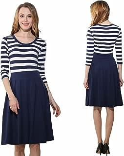 EMEBAY Women's Fashion Casual Seven-Point 2/3 Sleeve Round Neck Stripes Big Pendulum Princess Dress