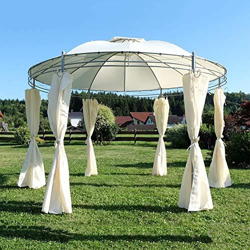 Elegante carpa de jardín, 3,5 m, redonda con techo, 100 % impermeable, tienda de campaña doble, toldo exterior, muebles de ocio, para jardín o terraza