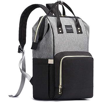 gran capacidad mochila de viaje Bolsa de pa/ñales multifunci/ón resistente al agua elegante y duradera Negro gris bolsa de pa/ñales para el cuidado del beb/é