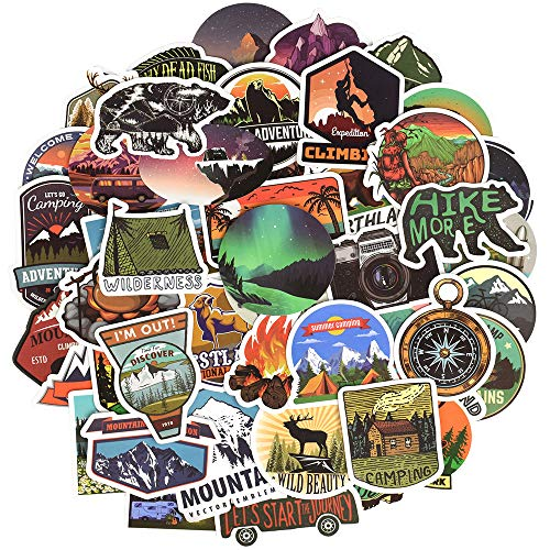 Waterproof Vinyl Stickers Pack for Water Bottle Laptop Bike DIY (50 Pcs Outdoor Adventure Style)