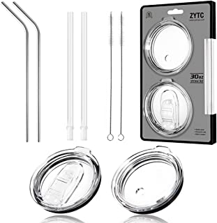 6 Piece Set For Yeti Straw 30 oz,No Leak Sliding Closure 100% Spill Proof Straw Lid And Fits Yeti Rambler Tumbler,Ozark Trail Cup Or More Brand Stainless Steel Mugs