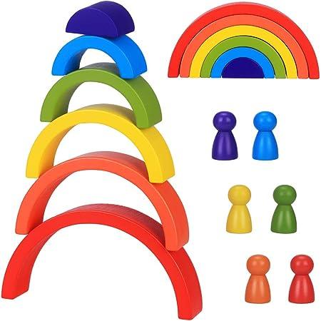 Jouets Arc-en-Ciel en Bois, 6pcs Montessori Puzzle de Nidification Bloc de Construction, Jeu d'Empilage Arch Jouet Éducatif Cadeau pour Les Tout-Petits Enfants Garçon Fille