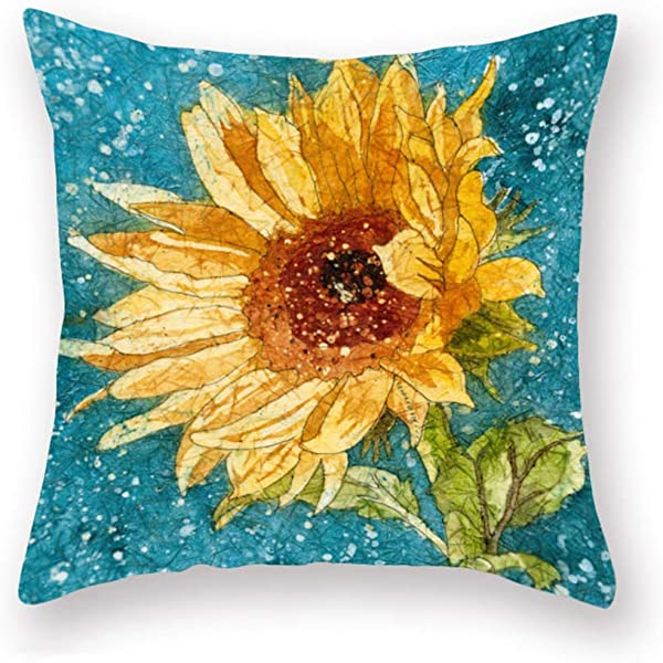 ShareJ Pillowcase Plant Watercolor Painting Sunflower Gift For Wedding Birthday Throw Pillow Covers Super Soft Cushion Cover Sofa Decorative Square 18 18 Pillowcover Sunflower02