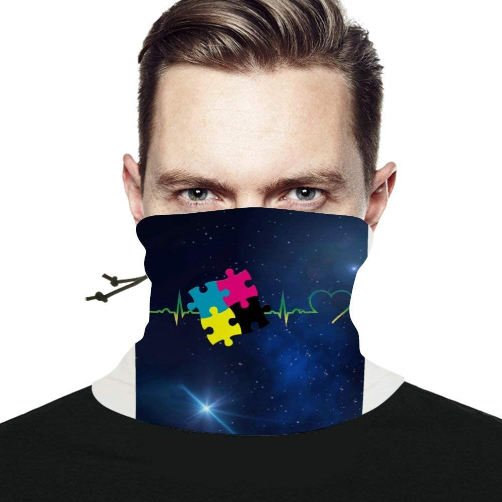 My Heart Beats for Autism Seamless Scarf Headwear Neck Gaiter Bandana Neck Warmer Multifunctional Face Cover Windproof UV Protection For Men Women