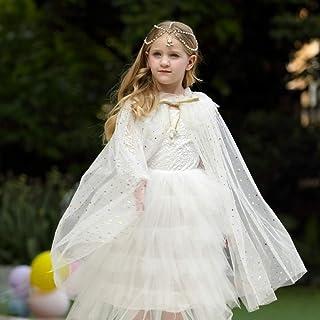 Kids Girls Faux Fur Shrug Cape Princess Ivory Bolero Cardigan Tippet Stole Bridesmaid Shawl Wrap for Wedding Party Dress 3-12 Y