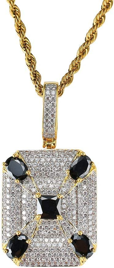 Fashionable Hiphop Necklace, Iced Out Black Gemstone High material Square 18K Pendant Go