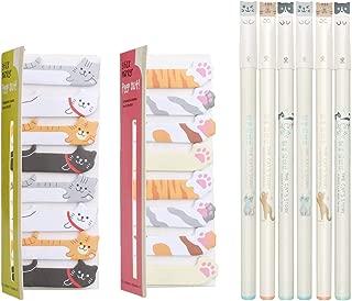 Cat Cute Pens & Sticky Flags Set, Japanese Stationery pens Set, 6 Pens + 240 Sticky Tabs Notes Page Flags Index for Cat Lovers, Cute Office Supplies, Kawaii School Supplies